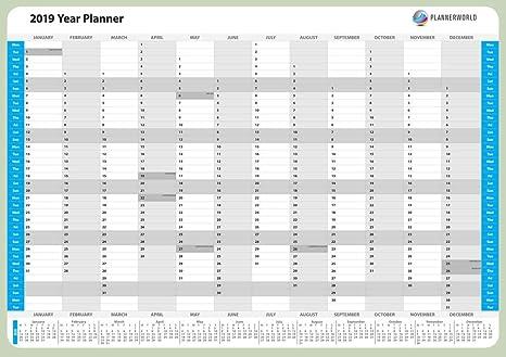 2019 - Calendario de pared anual, laminado: Amazon.es: Oficina y ...