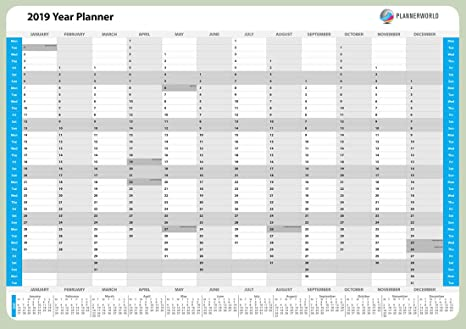 Calendario Planning.2019 Planner Annuale Calendario Da Parete Laminato Amazon