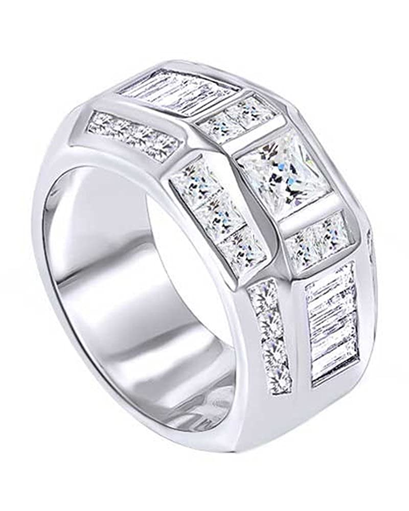 Wishrocks Princess /& Baguette Cut Cubic Zirconia Mens Wedding Band Ring 14K Gold Over Sterling Silver 3.53 Cttw
