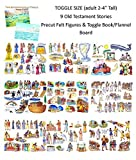 9 Old Testament Bible Stories Felt Figures + Flannel Board Book- Precut Toggle Size Noah, David, Daniel, Job, Jonah, Joseph, Abraham, Ruth Esther, Moses