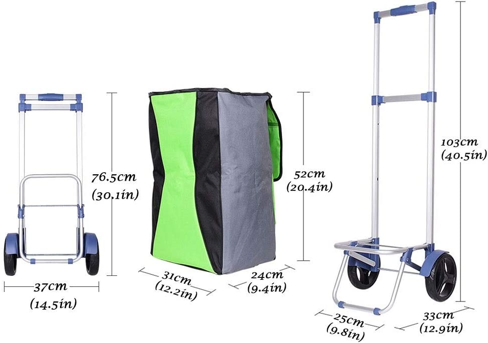 Hand Trucks Shopping Cart Multifunctional Waterproof Shopping Bag Collapsible Grocery Shopping Cart 38L Large Capacity Aluminum Alloy Non-Slip Wear-Resistant Gift Color : Green, Size : 103cm