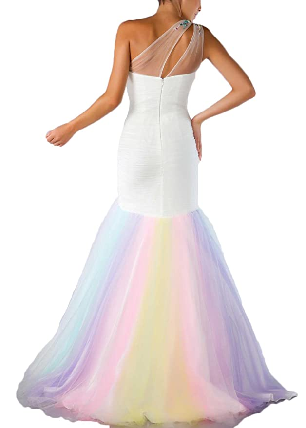 19445088fd Amazon.com  Hot Dresses Women s One Shoulder Mermaid Beaded Tulle Rainbow  Prom Dresses  Clothing