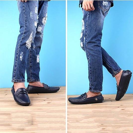 Zapatos de Cuero para Hombres, Mocasines y Slip-ONS Zapatos de conducción Calzado Perezoso, Casual Zapatos de Caminata cómodos con Punta Redondeada: ...
