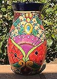 Authentic Fine TALAVERA Decanter Ceramic Flower Vase 9'' Pottery Mexico Hand Painted Art! Original Vivid Modern Style Design Art Decor [Blue Rim]