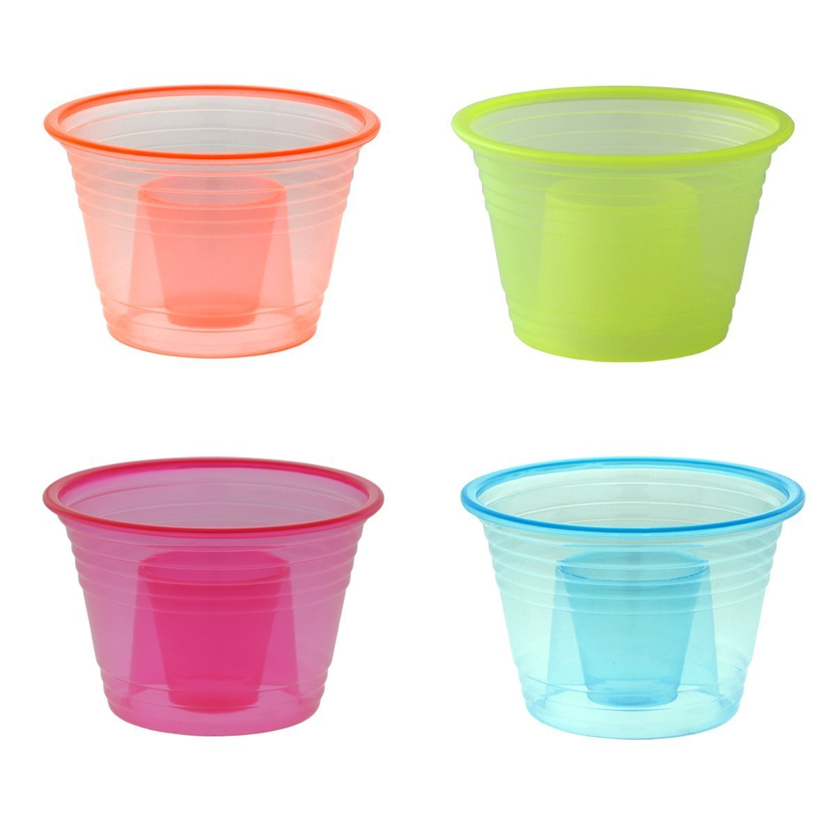 Zappy 500 Assorted Neon Colors Disposable Plastic Party Bomber Power Bomber Jager Bomb Cups Shot Glass Glasses Shot Cup Cups Jager bomb glasses