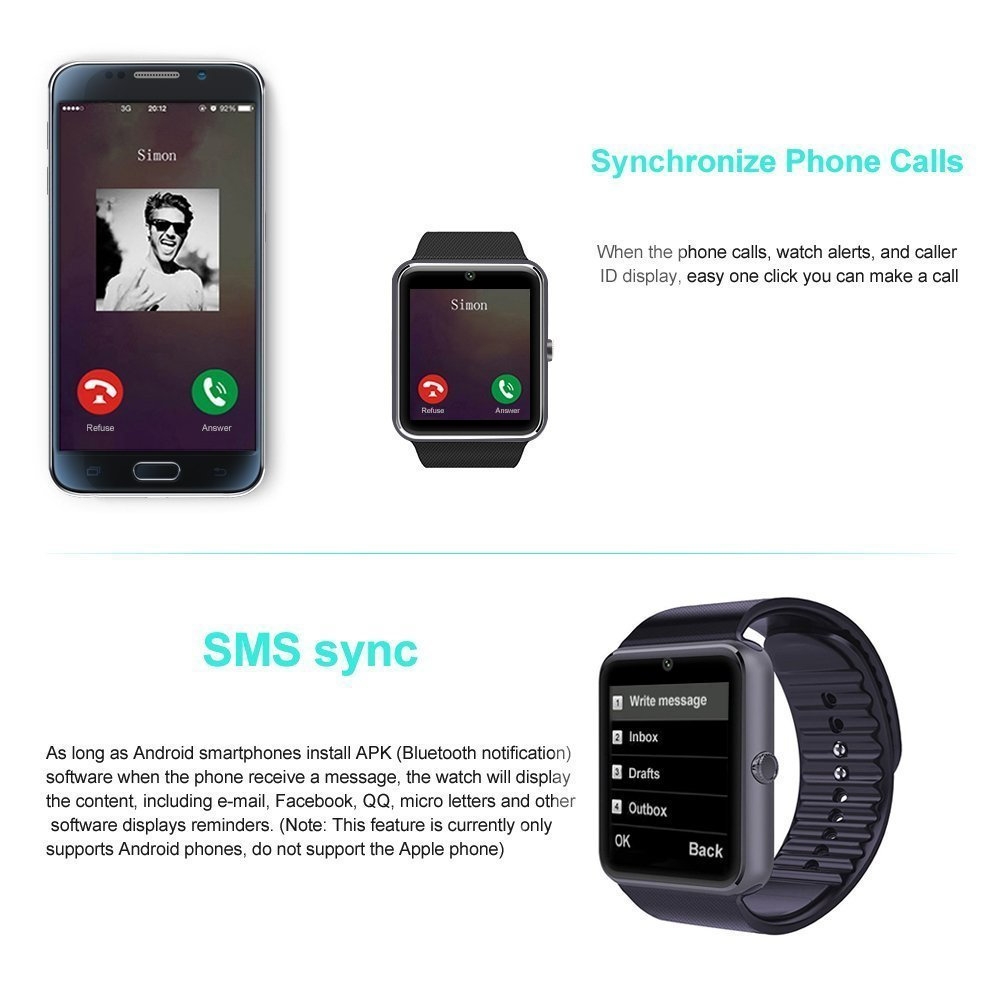 AxCella Android Smartwatch Bluetooth with TF SIM Cart Slot, Smart Watch  1 54 pouces with Camera, Sport Wrist band with Fonctions Podometer, Sleep