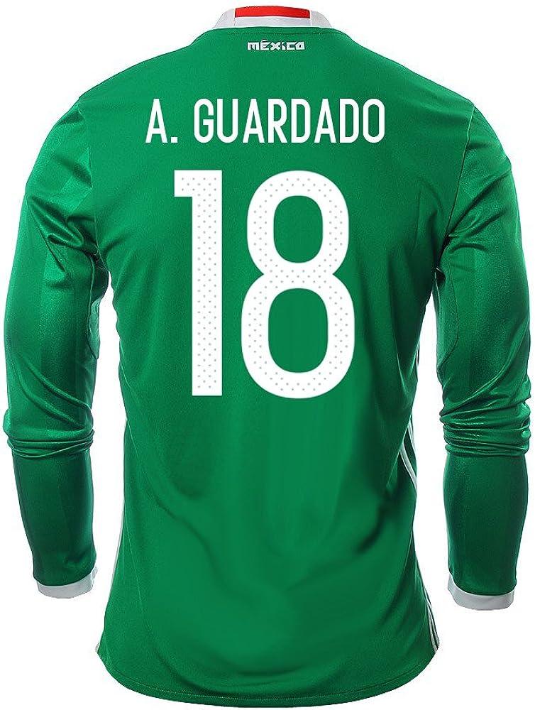 A. Guardado #18 Mexico Men's Home Jersey Long Sleeve 2016 [Official Printing]