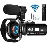 Videokamera videokamera 4K Ultra HD 48MP WIFI videokamera för Youtube nattvision videokamera med extern mikrofon