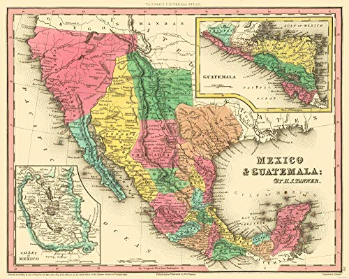 - MAPS OF THE PAST Texas - Mexico - Guatemala - Tanner 1836-28.85 x 23 - Matte Canvas