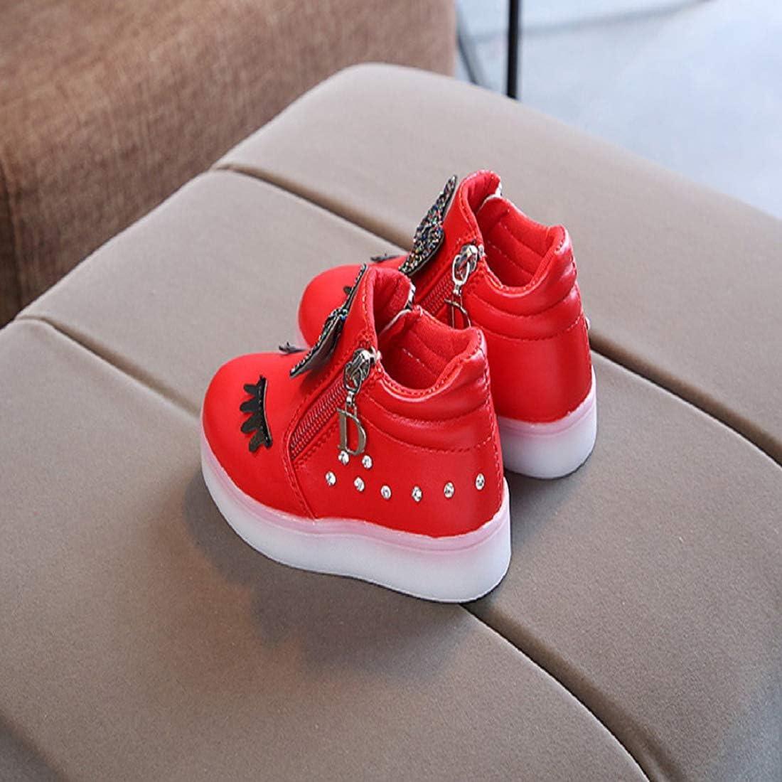 Bkolouuoe Doddler Kids LED Luminous Shoes Baby Girls Crystal Bowknot Eyelash Zip Boots Sneakers Sport Shoes