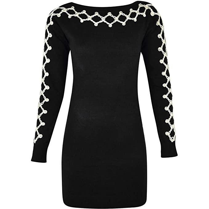 4331d7a0d073 Fashion Thirsty Women Winter Long Sleeve Jumper Dress Knit Diamond Detail Round  Neck Size (One Size  US 4