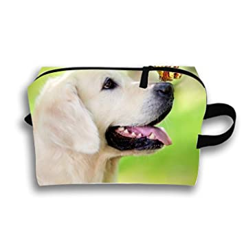 Make-Up Cosmetic Tote Bag Funny Dog With Butterfly Carry Case