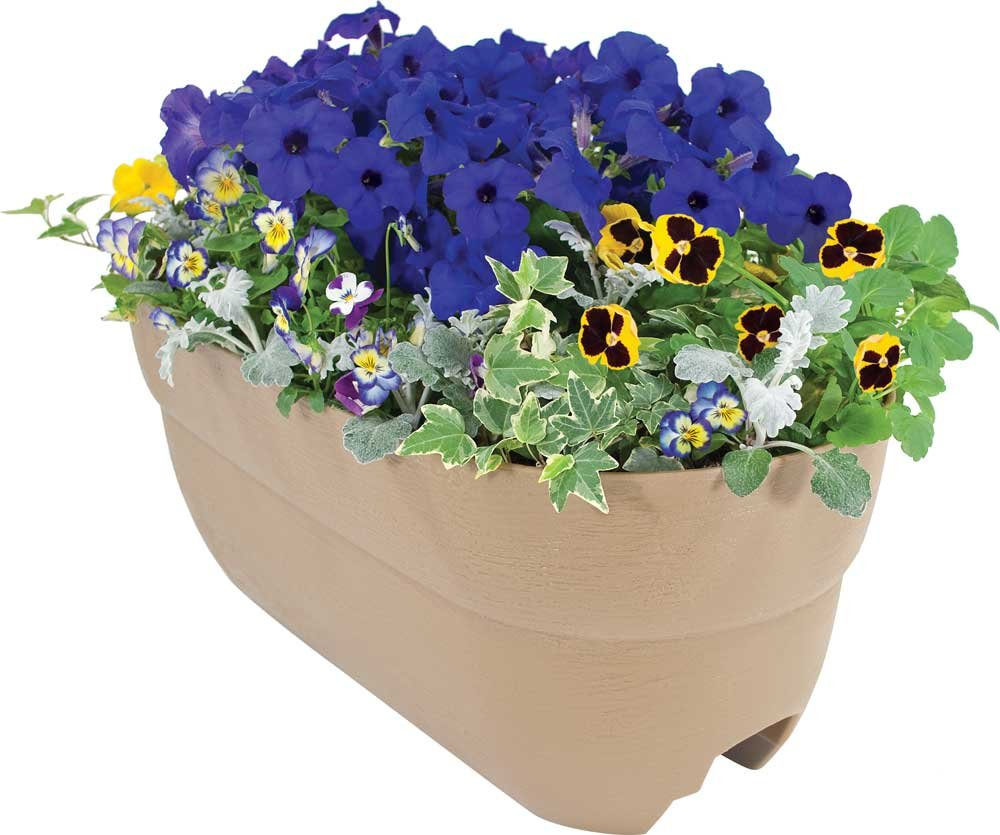 EMSCO Group Bloomers Railing Planter with Drainage Holes – 24'' Weatherproof Resin Planter – Sand