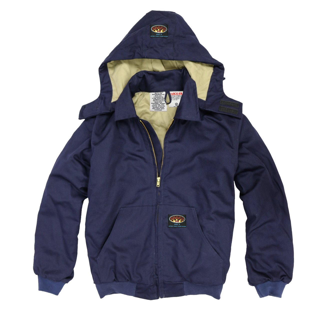 Rasco FR Navy Quilted Hooded Jacket