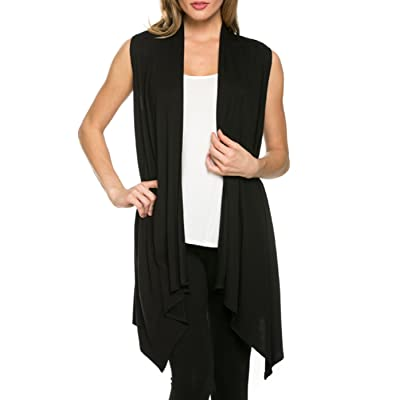 2LUV Women's Draped Open Front Jersey Knit Vest Black S (AJK-2071RS-BLK) at Women's Clothing store