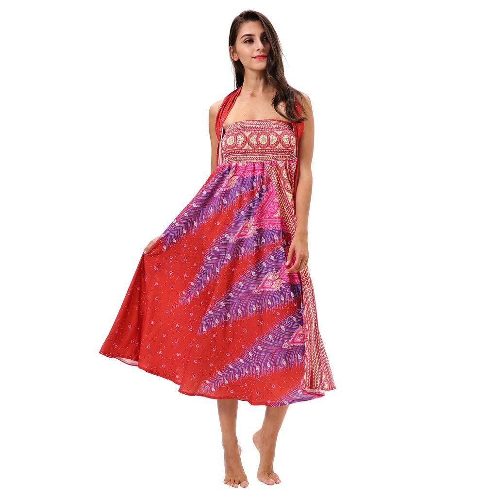 Womens Long Dress Hippie Bohemian Gypsy Boho Flowers Elastic Waist Floral Print Halter Skirt (Free Size, Red)