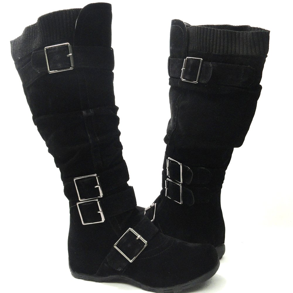 2074fcaa1785b Womens Knee High Faux Suede Flat Winter Buckle Boots Black