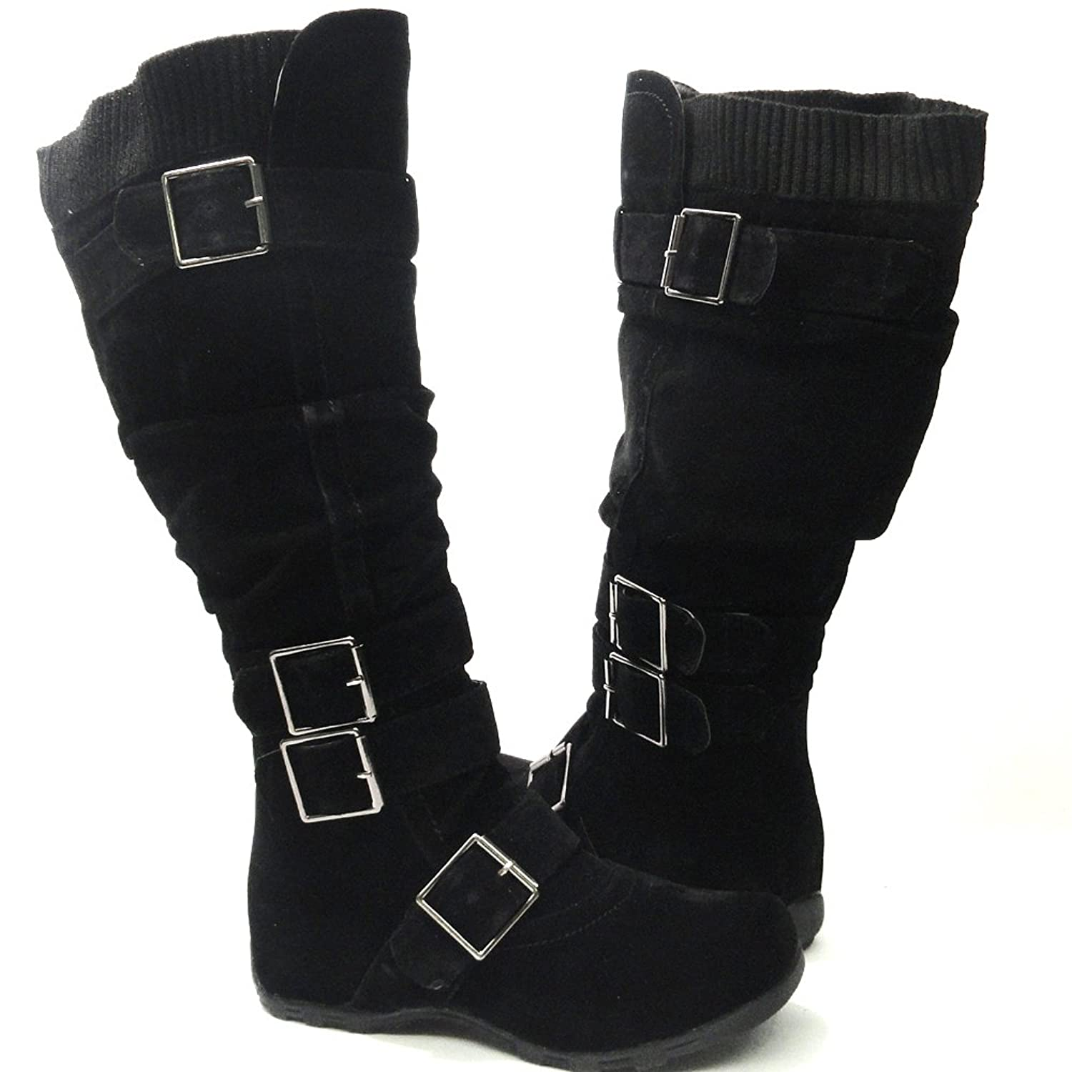Womens knee high boots with buckles