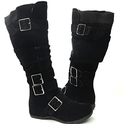 fe99e1c24e1 Womens Knee High Faux Suede Flat Winter Buckle Boots Black