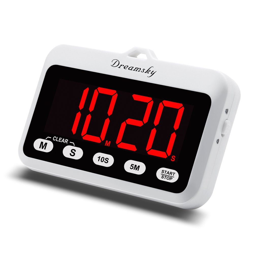 DreamSky Portable Digital Kitchen Timer with Large Red Number Display, Count Up & Down, Loud Alarms Timer with Volume Adjustable, Magnetic Back Stand, Battery Operated Timers for Cooking Baking.