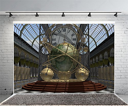 Leyiyi 7x5ft Photography Background Time Machine Backdrop Steam Punk Heavy Metal Fiction Scientist Invention Universe Modle Earth Terrestrial Globe Arch Window Photo Portrait Vinyl Studio Prop