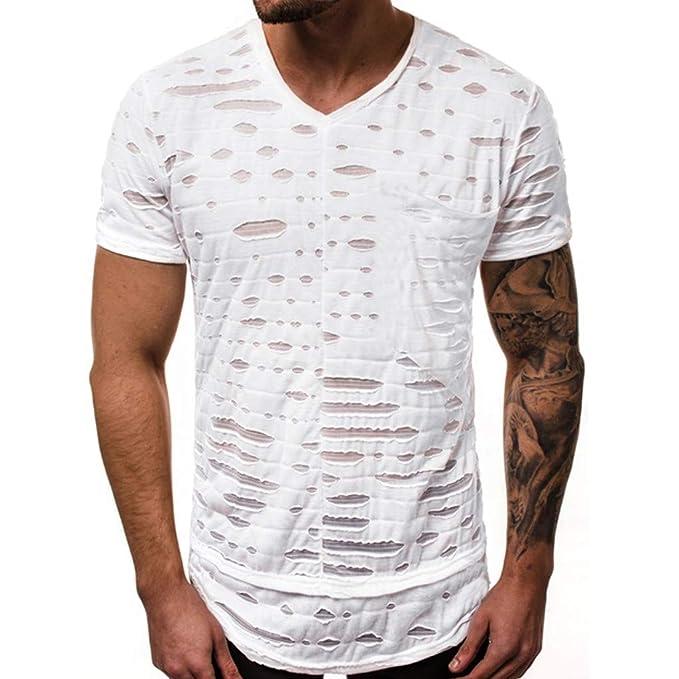ZARLLE Camisetas Hombre Originales Rotos Irregular Diseñar ...
