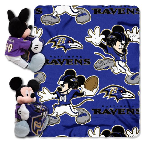 The Northwest Company NFL Baltimore Ravens Mickey Mouse Pillow with Fleece Throw Blanket - Gear Nfl