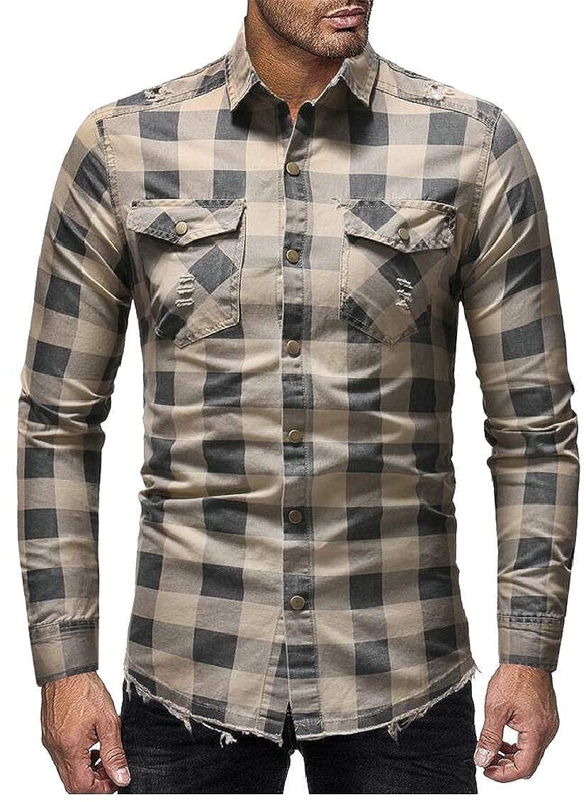 Hokny TD Mens Slim Lapel Plaid Distressed Button Down Denim Shirt