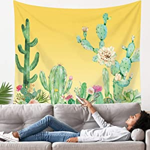 LANG XUAN Yellow Cactus Tapestry Flower Wall Tapestry Plant Art Wall Tapestry Cute Decor Wall Hanging for Room (Yellow Cactus, 150X200CM L:59X79inch)