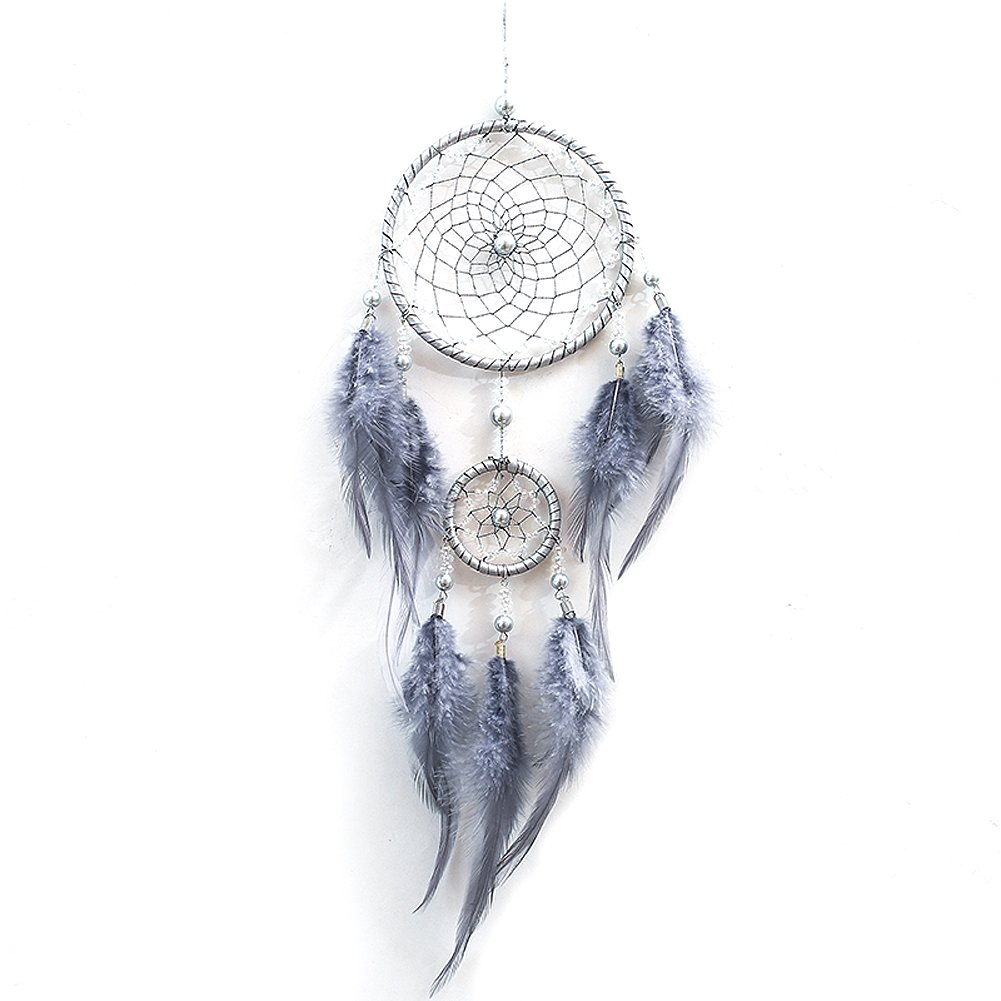 HBEDU Dream Catchers Gray Handmade with Feather and Beads Craft Artwork Circular Net For Car Kids Bed Room Wall Hanging Home Decoration Pack of 1