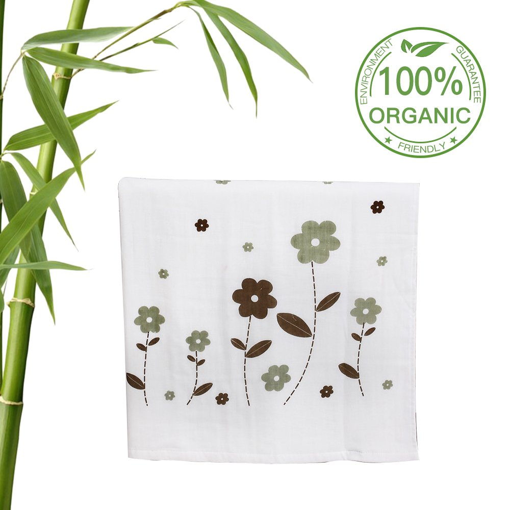 BabyBath Towel Extra Soft from Bamboo,Warm Blanket Super Size(27.56''x51.18'')by L-Liang,for Infant and Toddler(0-6yrs),(White,Plant Pattern))