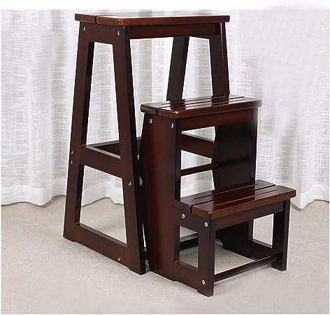 SMBYLL Escalera escalonada Taburete escalón de tres pisos Toda escalera de madera maciza de tres peldaños Escalera plegable para el hogar Se puede contratar una silla de escalera de doble uso Taburete: