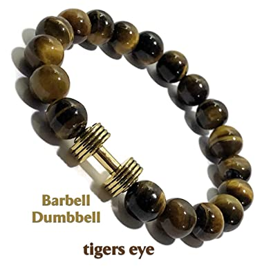 Amazon.com: Natural Tigers Eye Bracelet Barbell Dumbbell ...