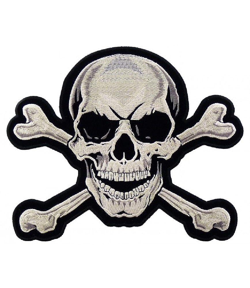 Skull and Crossbones Large Back Patch - Motorcycle Vest Biker Jacket