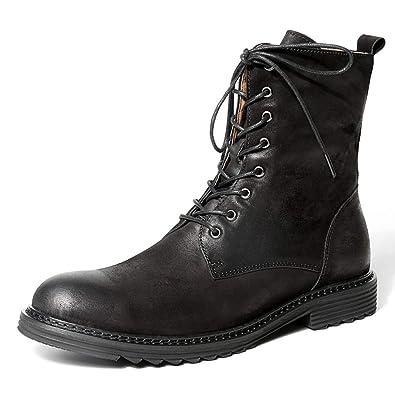 Botines para Hombre Cuero Genuino Militar Vintage Invierno Cordones con Cremallera Zapatos De Negocios De Gran Altura Martin Boots: Amazon.es: Zapatos y ...