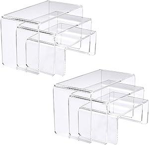 "NIUBEE Acrylic Display Risers Stand 2 Sets,3 Steps Clear Riser Shelf Showcase for Amiibo Funko POP Figures -8.4""x6.3""x4.3"""
