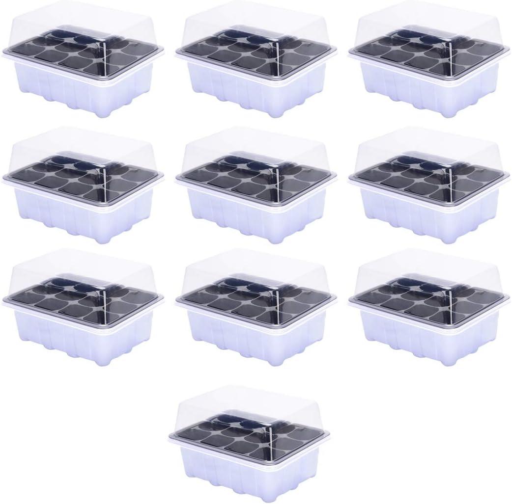 Kepae Plateau de Germination 10Pcs Mini Serre pour Semis Serre Pot de Semence avec Trou de Drainage Pots de Germination pour Germination Semences en Serre