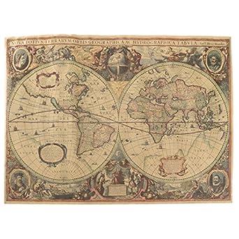 Amazon.com: Bazaar Retro Old Antique World Map Poster Style Large ...