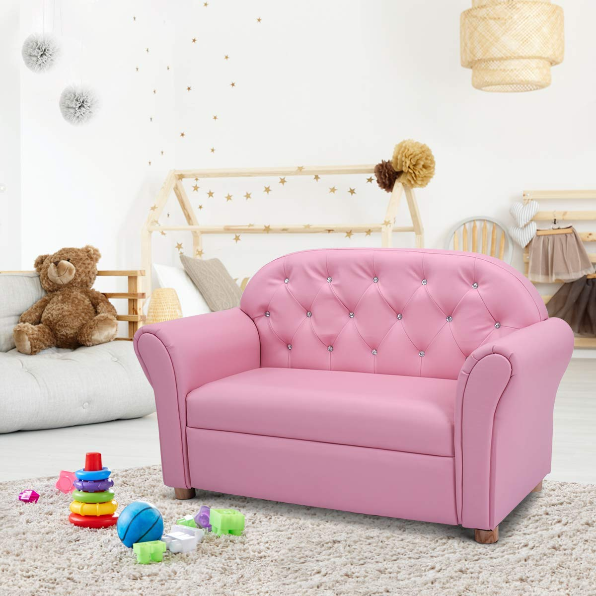 Amazon com costzon kids sofa pu leather upholstered couch sturdy wood construction armrest chair for preschool children 37 inch pink couch toys