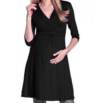 a548fe2d13 Amazon.com   Women s Elegant V Neck Elbow Sleeve Solid color Front ...