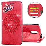 IKASEFU Xiaomi Redmi Note 3 Case,3D Clear Crown Rhinestone Diamond Bling Glitter Wallet with Card Holder Emboss Mandala Floral Pu Leather Magnetic Flip Protective Cover for Xiaomi Redmi Note 3,Red