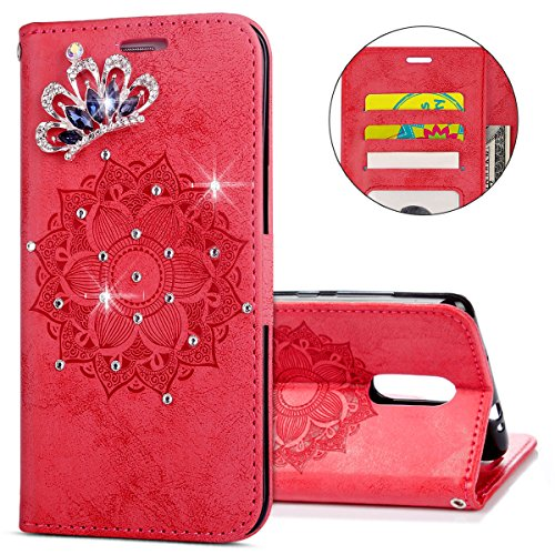 IKASEFU Xiaomi Redmi Note 3 Case,3D Clear Crown Rhinestone Diamond Bling Glitter Wallet with Card Holder Emboss Mandala Floral Pu Leather Magnetic Flip Protective Cover for Xiaomi Redmi Note 3,Red by IKASEFU