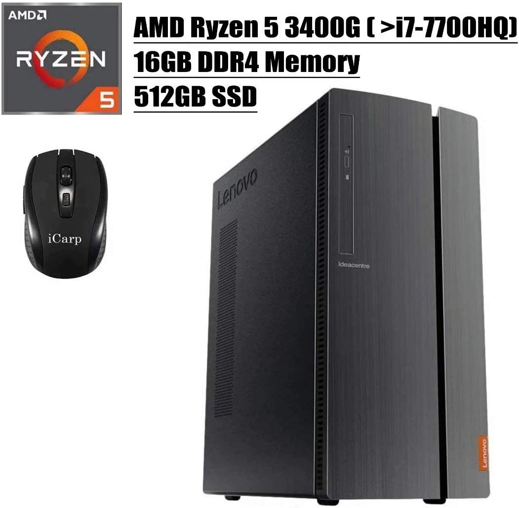 2020 Newest Lenovo IdeaCentre 510A Desktop Computer, AMD Quad-Core Ryzen 5 3400G (Beats i7-7700HQ), 16GB DDR4 512GB SSD, USB 3.0 DVD HDMI WiFi Wired Keyboard and Mouse Win 10 + iCarp Wireless Mouse