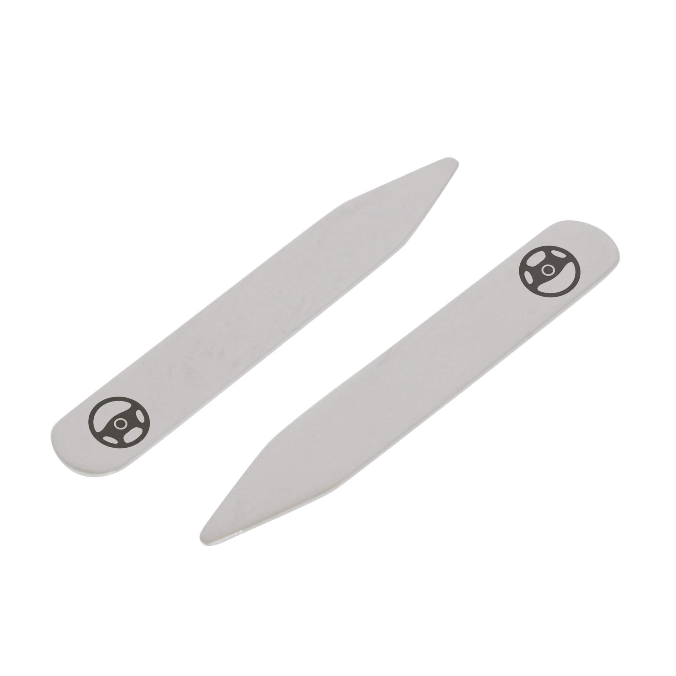 MODERN GOODS SHOP Stainless Steel Collar Stays With Laser Engraved Steering Wheel Design - 2.5 Inch Metal Collar Stiffeners - Made In USA