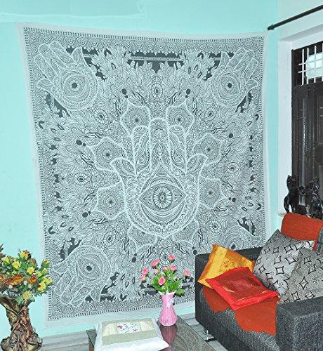 (Indian Art Work Hamsa Fatima's Hand Good Luck Home Decor Indian Urban Tapestry Wall Hanging Wall Tapestry Living Room Bedroom Dorm Decor Bedding)