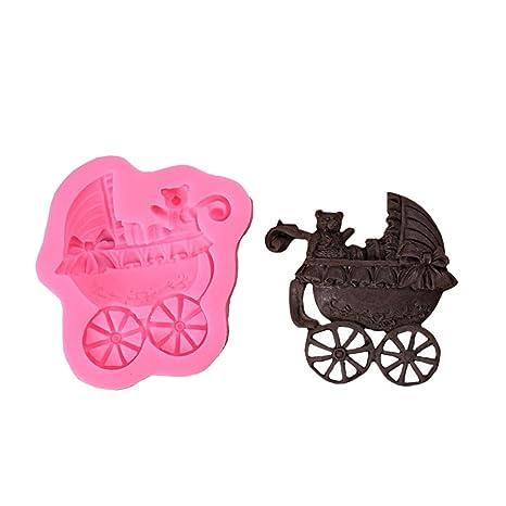 Joyfeel buy Moldes Silicona reposteria Fondant 3D decoración de Pasteles moldes DIY con Cochecito de bebé