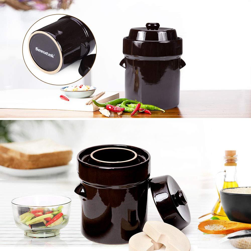 Fermentation Crock Jar 2 Liter / 0.5 Gallon - Stoneware Pot for Fermenting, Pickling Kimchi, Sauerkraut, Pickles, Vegetables, Kombucha - Glazed Fermenter with Stone Weights, Lid & Pickle Tamper by Seeutek (Image #5)
