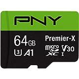 PNY 64GB Premier-X Class 10 U3 V30 microSDXC Flash Memory Card - 100MB/s, Class 10, U3, V30, A1, 4K UHD, Full HD, UHS-I, Micr
