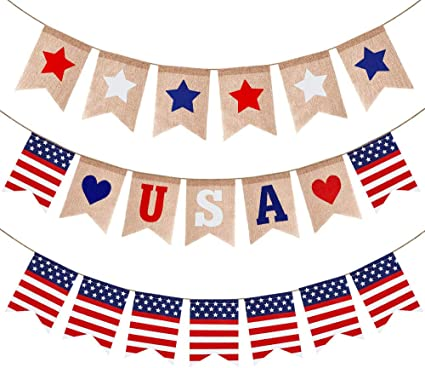American Flag Garland Patriotic Red White Blue Stars and Stripes Party Decor Photo Prop