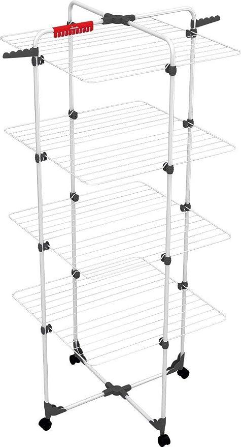 Vileda Mixer 4 - Tendedero vertical de torre de acero, 40 metros de espacio de tendido, 4 rejillas, soporte para ropa pequeña y perchas, dimensiones ...